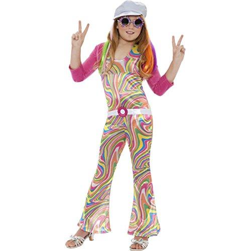 60er 70er Jahre Hippie Mädchen Kostüm Kinder 7-9 Jahre Hippiekostüm Flower Power Blumenkind Karnevalskostüm Kinderkostüm (Flower Power Hippie Mädchen Kostüme)