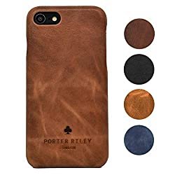 Porter Riley - Lederhülle für iPhone 6 / iPhone 6s. Premium Ultra Dünn Echtleder Cover/Ledertasche/Backcover kompatibel mit iPhone 6/6s (Hellbraun)