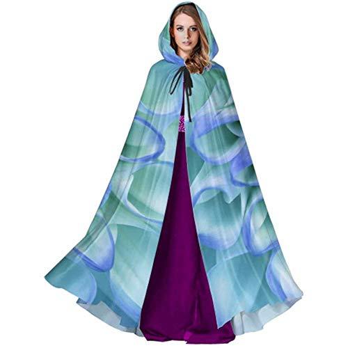 Black Dahlia Kostüm - Black-Sky Blaue Blütenblätter Dahlia Lightweight Hooded Cloak Frauen Cape Hooded Cloak für Weihnachten Halloween Cosplay Kostüme