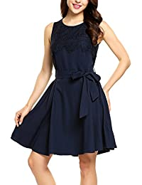 32a462a02413 Zeagoo Damen Sommer Chiffonkleid Spitzenkleid Ärmellos Elegant Minikleid  Loose Fit Schwanger Kleid…