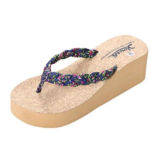 Webla Frauen Leopard Flip Flops Hausschuhe Strand Sandalen Sommer Home Schuhe Blau