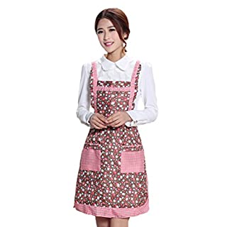 Amybria Women Novelty Apron Chefs Cooking Apron Double Pockets for Cooking Kitchen Waitress Red Flower