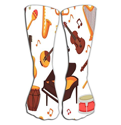 "BAOLANZHANG Hohe Socken Outdoor Sports Men Women High Socks Stocking Musical Instruments Flat Icons Isolated Set Orchestra harp Rock Banjo Guitar Piano Music Notes Variegated Tile Length 19.7""(50cm)"