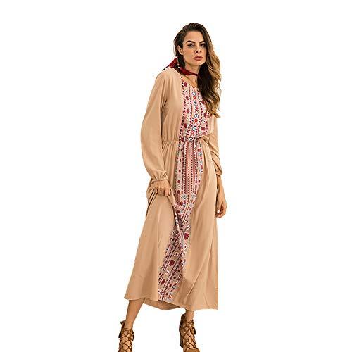 Kleider Damen Elegante Muslimische Langarm Maxikleider Floral Print Rundhals Kaftan Robes Tunika Abaya Maxi Kleid Casual,M -