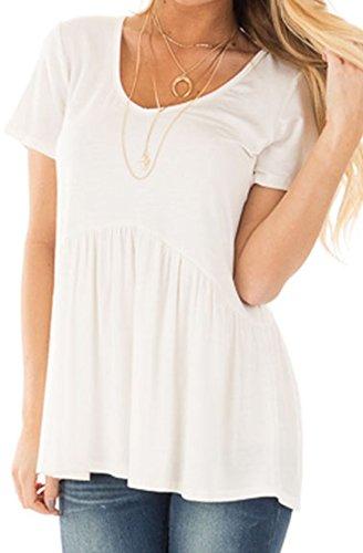 erdbeerloft - Damen Oversize Babydoll Shirt mit V-Ausschnitt, XS-L, Viele Farben Weiß