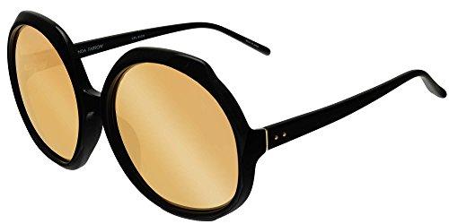Linda Farrow Sonnenbrillen 417 BLACK BLACK/YELLOW GOLD MIRROR Damenbrillen