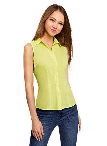 oodji Ultra Mujer Camisa Básica Sin Mangas, Verde, ES 40/M