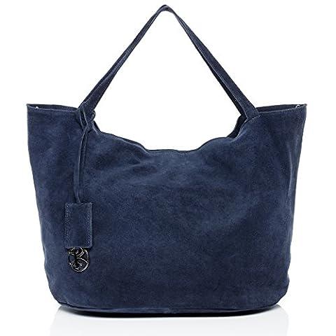 BACCINI large tote bag & shoulder bag - handbag SELMA with keyring - women`s bag blue leather