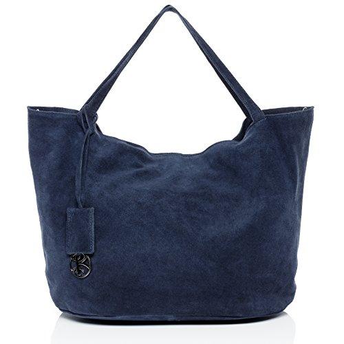 baccini-schultertasche-selma-handtasche-gross-damentasche-echt-wildleder-blau