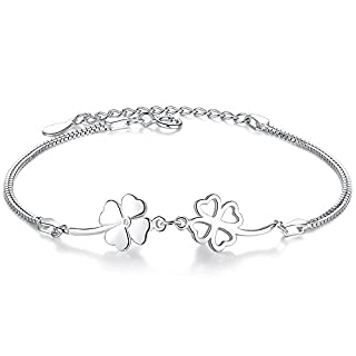 925Sterling Silver Women's Bracelet with Lucky Charm Clover Pendant and 16.5+ 3.5cm Adjustable Platinum Plated Bracelet