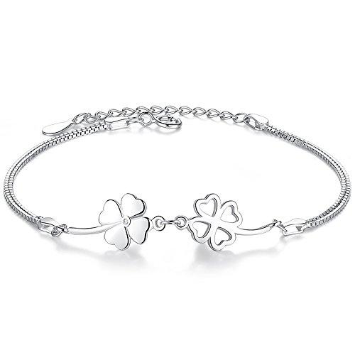 Bo&Pao Kleeblatt Armband Damen 925 Sterling Silber, Glücksbringer Armkette mit verstellbar Länge (Armband Mit Glücksbringer)