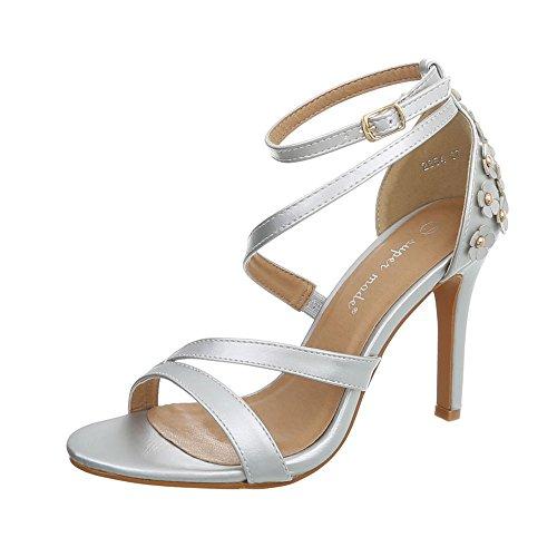 Ital-Design High Heel Sandaletten Damen-Schuhe Pfennig-/Stilettoabsatz Heels Schnalle Sandalen & Silber, Gr 39, 2854-
