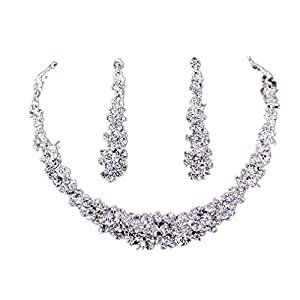 Koly® Women's Bride Bridesmaid Crystal Bridal Jewelry Sets Hot Sale Necklace Earrings Set Wedding by Koly