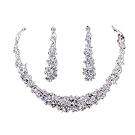 Koly® Women's Bride Bridesmaid Crystal Bridal Jewelry Sets Hot Sale Necklace Earrings Set Wedding
