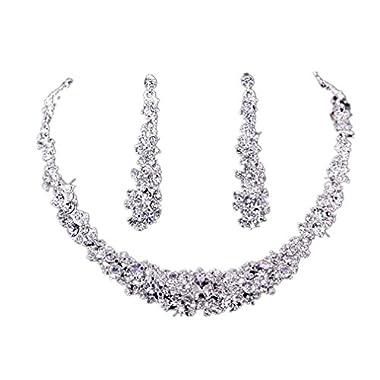 Koly® Women's Bride Bridesmaid Crystal Bridal Jewelry Sets Necklace Earrings Set Wedding