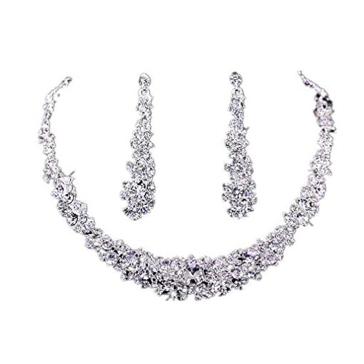 Koly® Women's Bride Bridesmaid Crystal Bridal Jewelry Sets Hot Sale Necklace Earrings Set Wedding