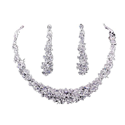 - 41hClOXZG5L - Koly® Women's Bride Bridesmaid Crystal Bridal Jewelry Sets Hot Sale Necklace Earrings Set Wedding