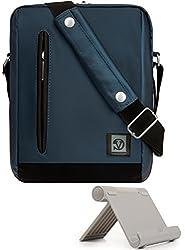 Vangoddy Navy Blue Anti-theft Vertical Crossbody Sling Messenger Bag For Asus Transformer Book T100ha, T101ha, Mini T102ha T103haf, Chromebook Flip C101 C101pa + Tablet Stand