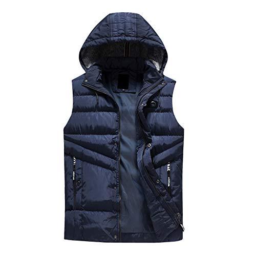 Bazhahei uomo top,inverno gilet da uomo elegante giacca autunno uomo imbottito giacca caldo con cappuccio gilet di spessore camicetta parka cappotto outwear-nero/grigio/verde militare/blu