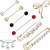 Jetec 8 Pieces Faux Pearl Brooch Pins Sweater Shawl Clips Vintage Shirts Dresses Cardigan Collar Safety Pins for Women (Classic Style)
