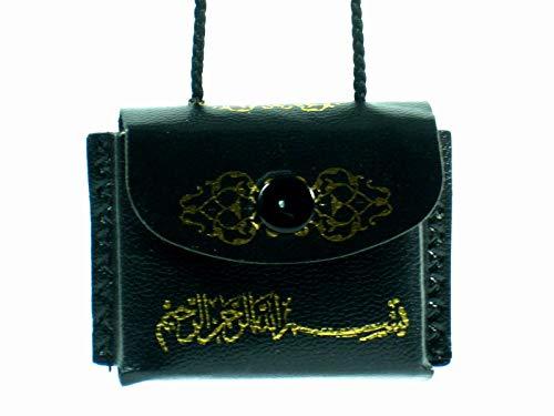 New Islamischer Mini Koran Autospiegel, Hängedekoration, hochwertiges Leder, Schwarz