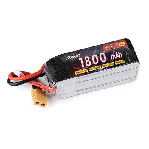 FCONEGY 1800mAh 14.8V 80C Lipo Akku RC Batterie für FPV Racing/Drone/Quadcopters/RC Hubschrauber/RC Flugzeug