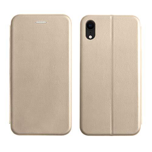 Starred Flip Leder Wallet Case für iPhone Xr Stand Magnetic Cover Clamshell Case 360 Grad Schutz, Gold Clamshell Case