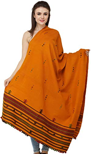 c8b338861fe4b9 Exotic India Shawl from Kutch with Embroidered Bootis and Mirrors - Color  Golden Ochre Color EinheitsgrÃ