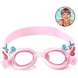 Hamkaw Lindo Gafas De Natación para Niños, Anti Niebla Gafas De Natación Sin Fugas con Correas Ajustables para Niños Niñas Opción Múltiple
