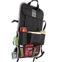 Shining Eyes - Organizador con 9 bolsillos de red para coche - Se coloca en la parte trasera de los asientos delanteros - Función soporte de iPad - Almacenamiento/bolsa de viaje para transportar equipaje como botellas, comida, juguetes, latas, bebidas, basura, etc - Disponible en 6 combinaciones de color: negro-gris / negro-verde / negro-rojo / camuflaje-azul / camuflaje-verde / camuflaje-amarillo negro-gris