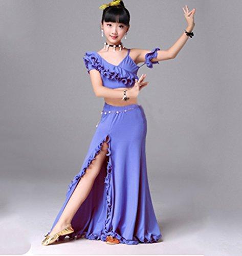 HUOFEINIAO Kinder Bauchtanz Kostüm Indischer Tanz Praxis Kleidung Modenschau Kleid,Purple,L