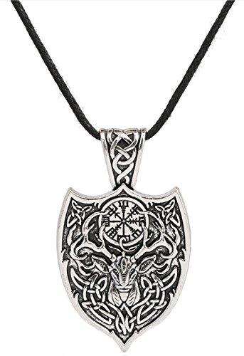 """Herren-Halskette """"Keltischer Hirsch"""" mit Talisman-Anhänger und irischem Knoten, Vegvisir-Kompass und Triquetra als Motiv"""