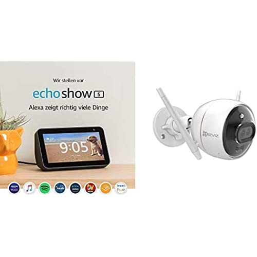 EZVIZ C3X Telecamera di Sorveglianza Esterna Wi-Fi con Visione Notturna a Colori, Compatibile con iOS/Android Alexa, con Echo Show Nero