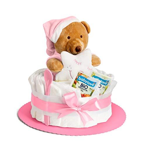 Windeltorte in Rosa mit Teddy-Spieluhr von Homery, perfekt als Geschenk für Mädchen zur Baby-Party oder Geburt – Handmade fair hergestellt