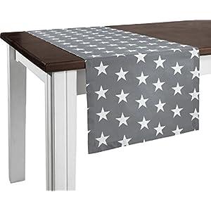 REDBEST Tischläufer, Tischdecke Sterne 100% Baumwolle grau Größe 40x170 cm - Robustes, glattes Gewebe, mit Kuvertsaum (weitere Größen)