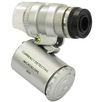 Tiny Deal Super Mini 60X Microscope With 2-LED Illumination + Currency Detecting UV Light
