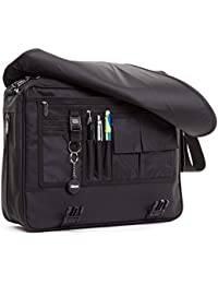 Kiras Messenger Bag Schultasche Collegetasche Überschlagtasche Aktentasche Arbeitstasche schwarz