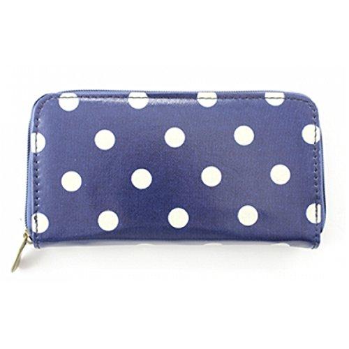 Donna a pois 100% tela di cotone a pois borsa donna frizione borsa Portafoglio, DOTTY, multicolore Dark Blue
