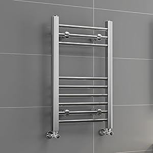 Luxury For Less Ltd – Ibathuk | 650 Mm X 400 Mm Straight Climatizada Diseñador Toallero Chrome Baño Radiador