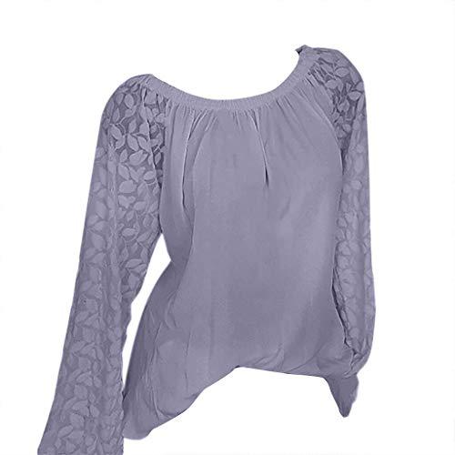 LUGOW Chiffon Langarmshirts Damen Bluse Einfarbig Lose Tee Shirts Einfarbig Langarm Tops T-Shirt Poloshirts Blusen Pullover Sweatshirts Online Sale(Medium,Lila) -