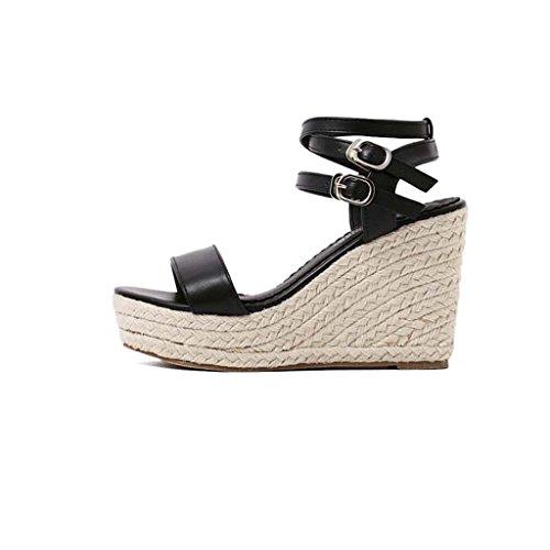 SHEO sandales à talons hauts Ladies Europe et les États-Unis et la pente de l'herbe avec de l'herbe à gazon large pour ouvrir des sandales ( Couleur : Abricot , taille : 39 ) Noir