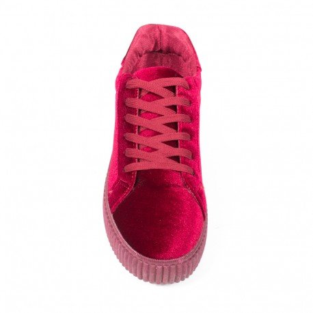Ideal Shoes - Baskets style creepers effet velours Sophie Rouge