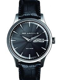 Ted Lapidus - 5124203 - Montre Homme - Quartz Analogique - Cadran Gris - Bracelet Cuir Noir