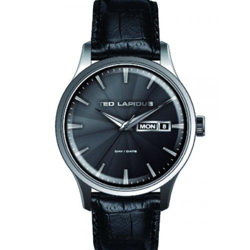 Ted Lapidus 5124203 - Reloj analógico de cuarzo para hombre con correa de piel, color negro