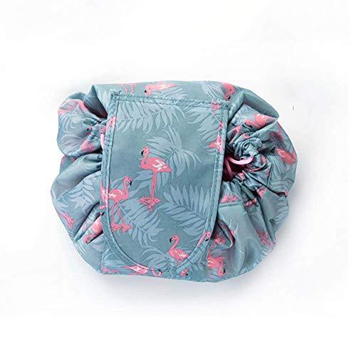 Kosmetiktasche Reise Kosmetikbeutel Damen Make-up Tasche zur Kosmetik Organizer Kulturtasche Aufbewahrung Wasserdichter Kulturbeutel mit Kordelzug Design Multifunktion Groß Kapazität (Grauer Flamingo) -
