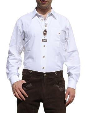 Trachtenhemd für Trachten Lederhosen mit Verzierung Trachtenmode wiesn weiß