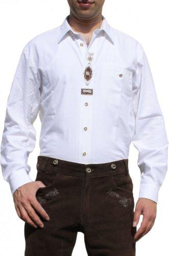 Trachtenhemd für Trachten Lederhosen mit Verzierung Trachtenmode wiesn weiß, Hemdgröße:3XL