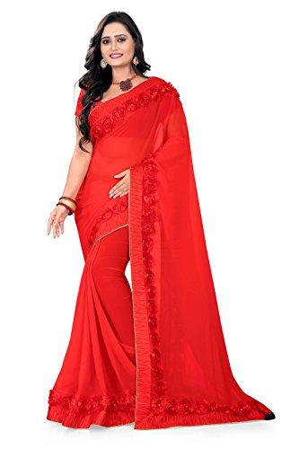 Riva Enterprise Women's Georgette red color saree with blouse (Riva_16)