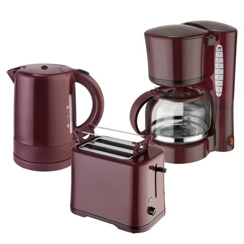 Efbe-Schott Frühstücksset WK 1080 + TO 1080 + KA 1080 Wasserkocher 1 L, Toaster und Kaffeemaschine 1,25 L Weinrot-Bordeaux -