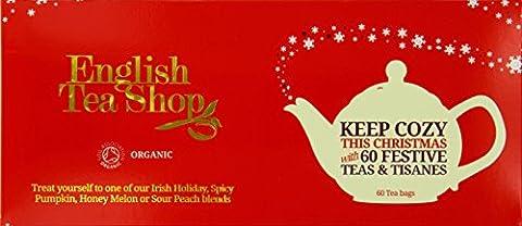 English Tea Shop X'mas Gift Tray Red Christmas Tray Sachet Tea Bags (Pack of 2, Total 120 Tea Bags)